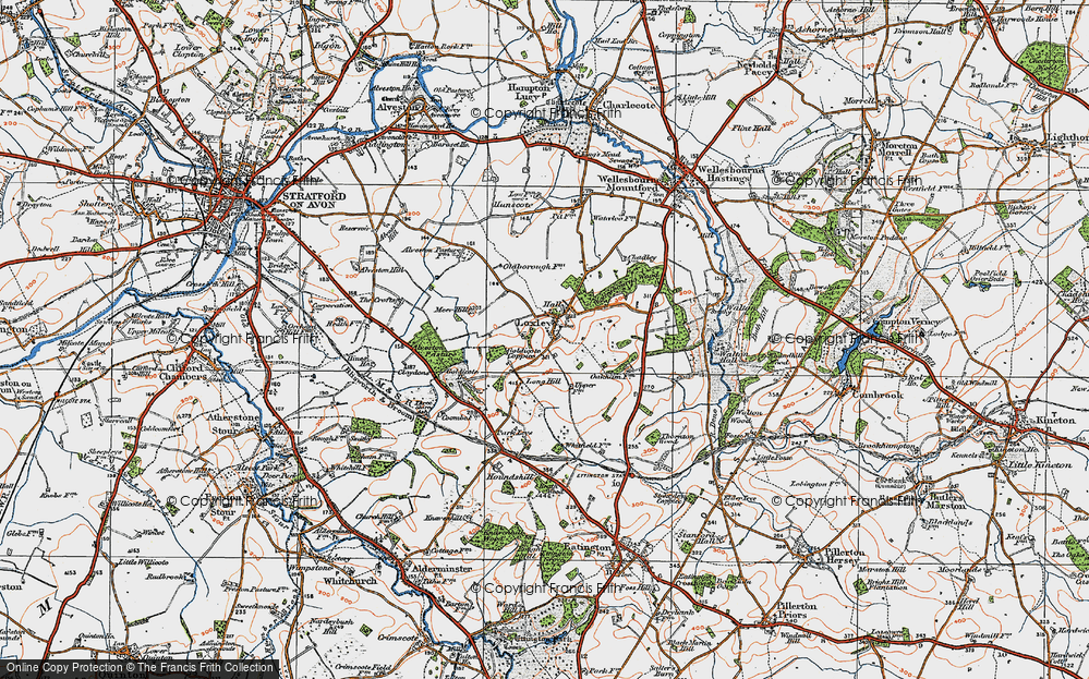 Old Map of Historic Map covering Alveston Pastures in 1919