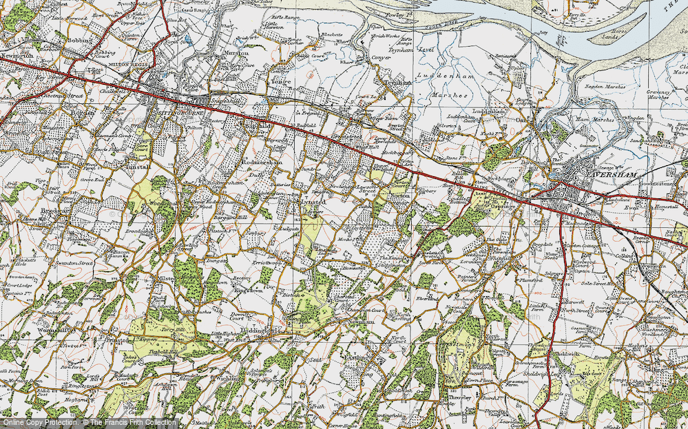 Old Map of Historic Map covering Tickham in 1921