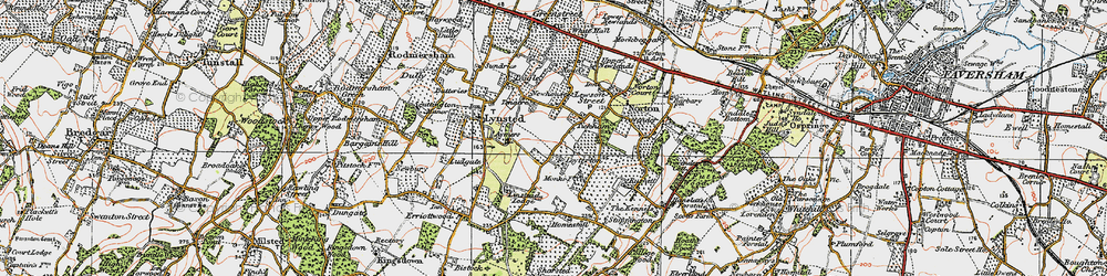 Old map of Tickham in 1921
