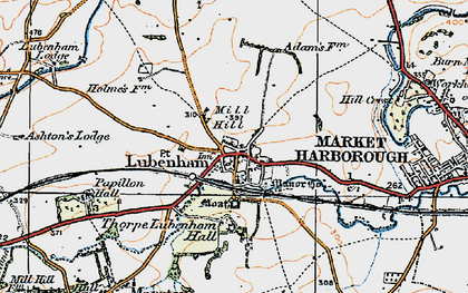 Old map of Lubenham in 1920