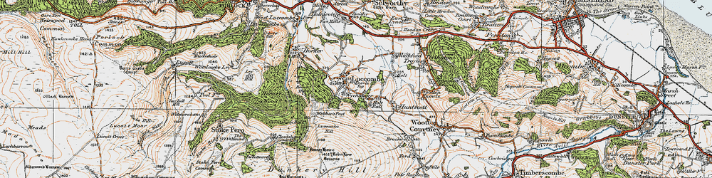 Old map of Luccombe in 1919