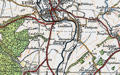 Old map of Ludford in 1920