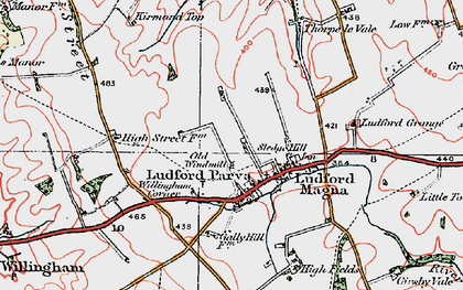 Old map of Ludford in 1923