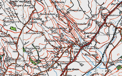 Old map of Ludgvan in 1919