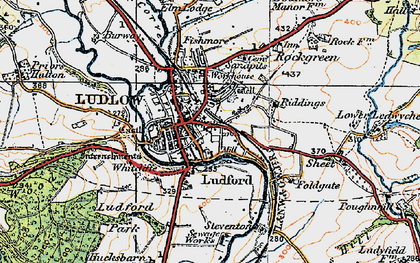 Old map of Ludlow in 1921