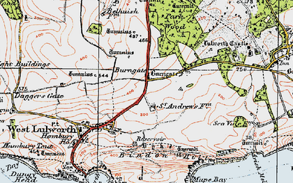 Old map of Lulworth Camp in 1919