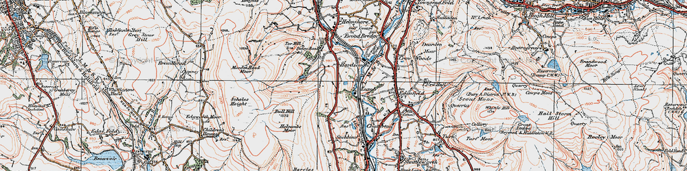 Old map of Wet Moss in 1924
