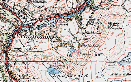 Old map of Lumbutts in 1925