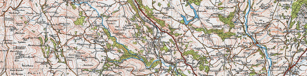Old map of Lustleigh in 1919