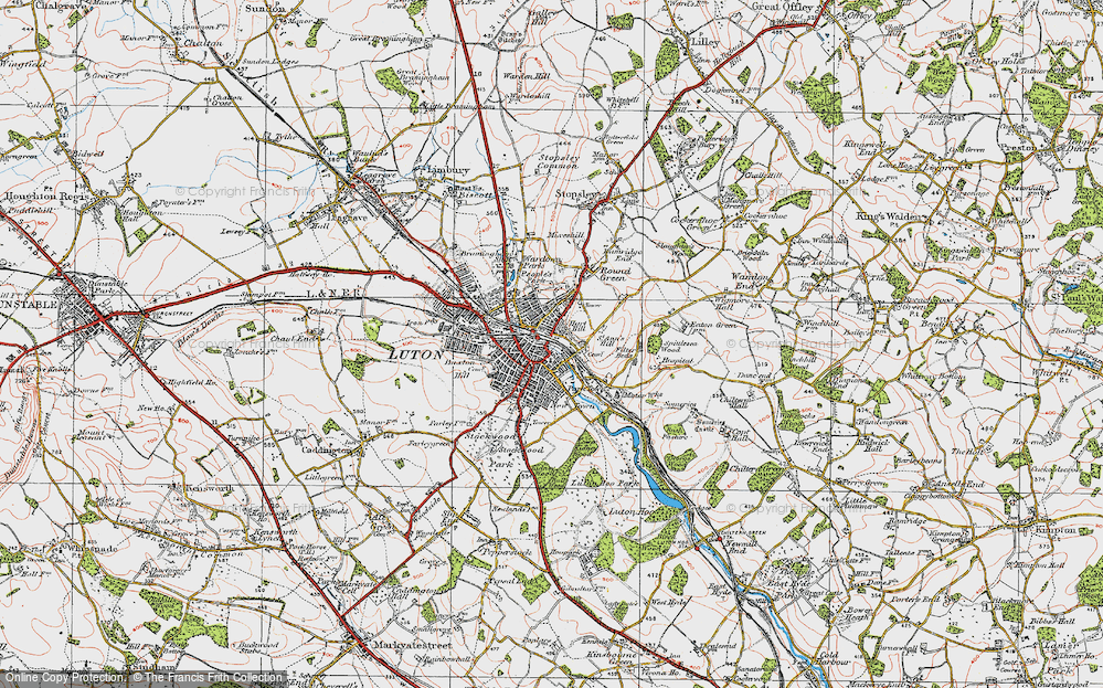 Old Map of Luton, 1920 in 1920