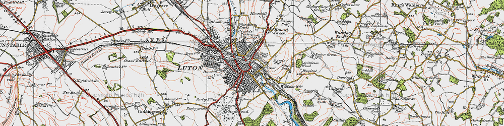 Old map of Luton in 1920