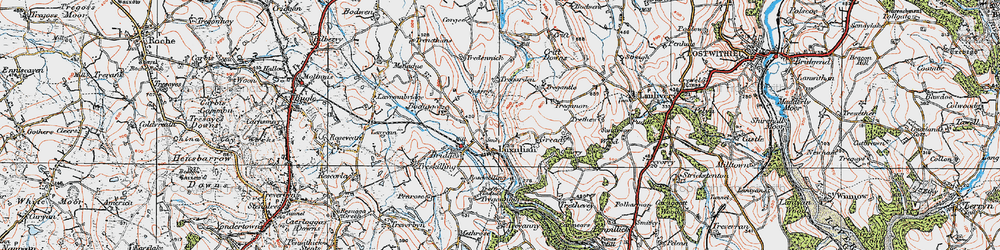 Old map of Luxulyan in 1919