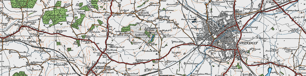 Old map of Lydiard Tregoze in 1919