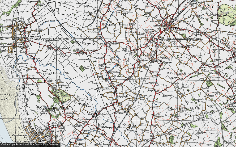 Old Map of Historic Map covering Aughton Chase in 1923