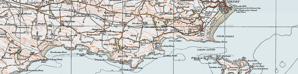 Old map of Whitewell in 1922