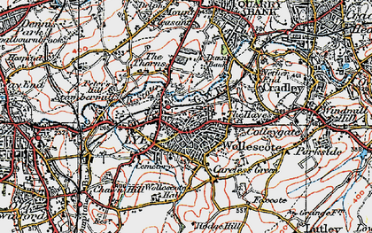 Old map of Lye in 1921