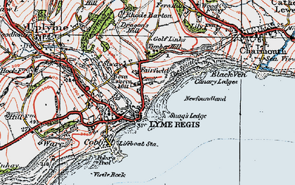 Old map of Lyme Regis in 1919