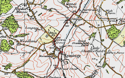 Old map of Lyminge in 1920
