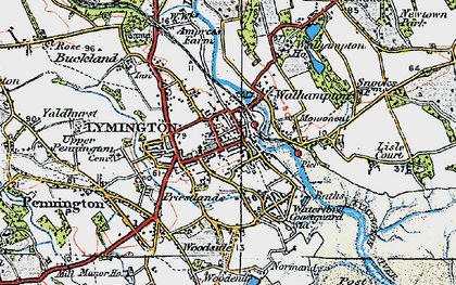 Old map of Lymington in 1919