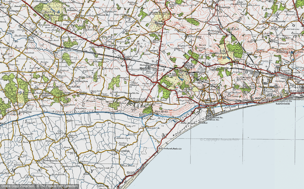 Old Map of Lympne, 1920 in 1920