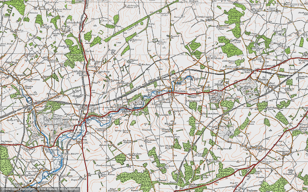 Old Map of Historic Map covering Laverstoke Ho in 1919