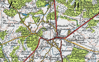 Old map of Lyndhurst in 1919