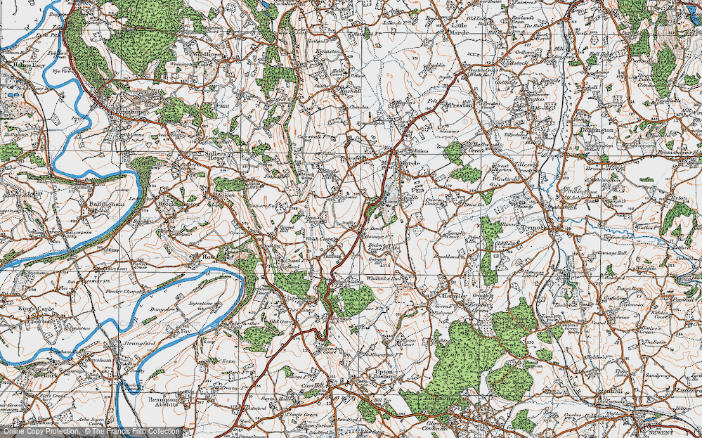 Old Map of Historic Map covering Awnells in 1919