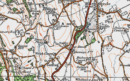 Old map of Awnells in 1919