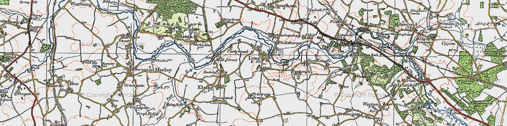 Old map of Lyng in 1921