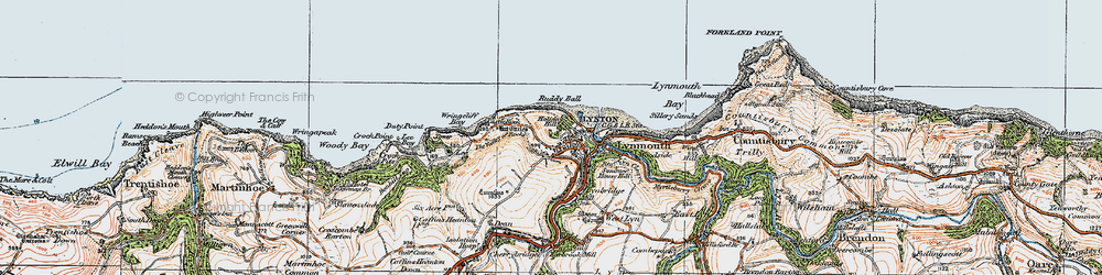 Old map of Lynton in 1919