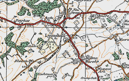 Old map of Lyonshall in 1920