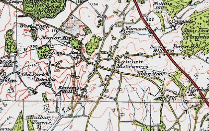 Old map of Lytchett Matravers in 1919