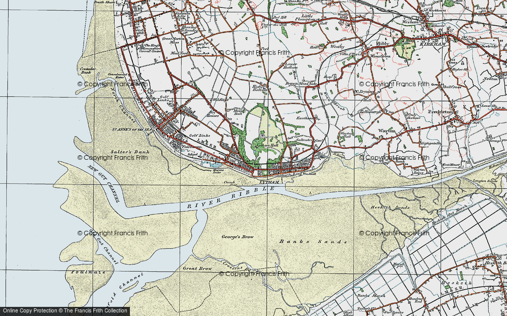 Old Map of Historic Map covering Banks Sands in 1924
