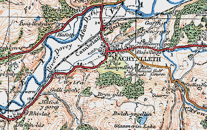 Old map of Machynlleth in 1921