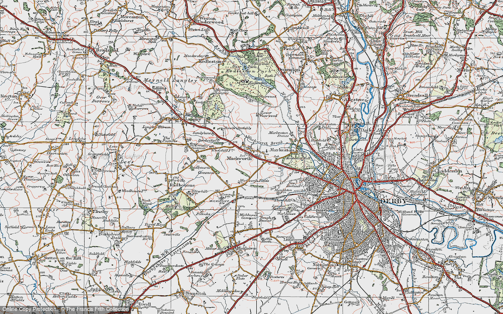 Old Map of Mackworth, 1921 in 1921