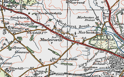 Old map of Mackworth in 1921