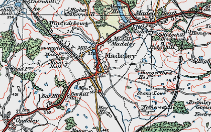 Old map of Madeley in 1921