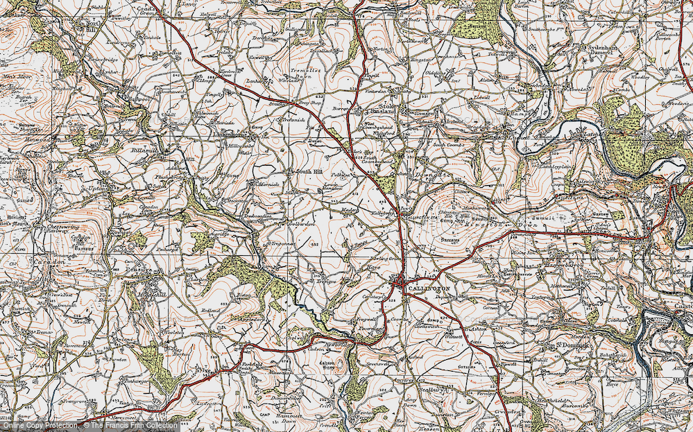 Old Map of Historic Map covering Woodland in 1919