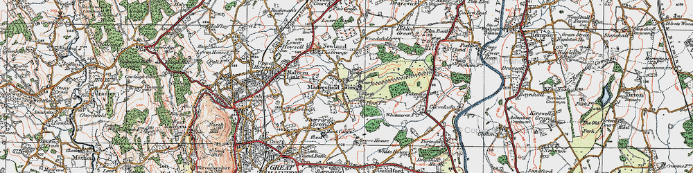 Old map of Madresfield in 1920