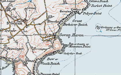 Old map of Maenease Point in 1919