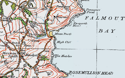 Old map of Maenporth in 1919