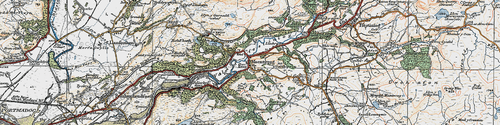 Old map of Maentwrog in 1922