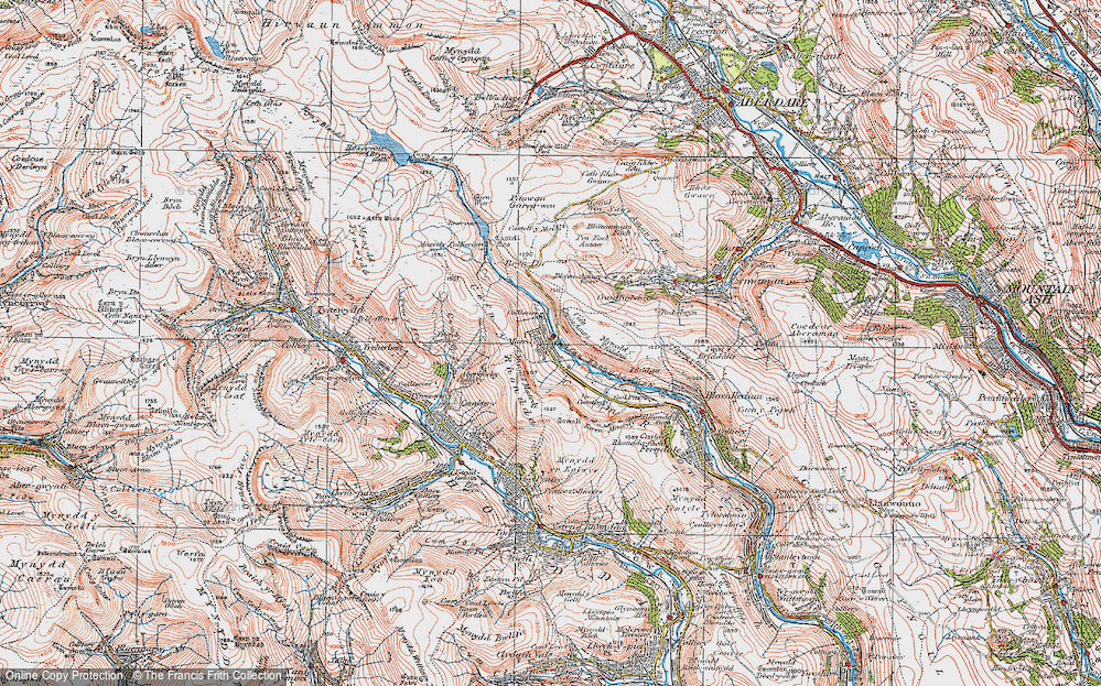 Old Map of Historic Map covering Afon Rhondda Fach in 1923
