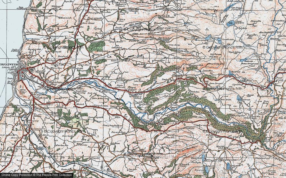 Old Map of Historic Map covering Allt y Gwreiddyn in 1922