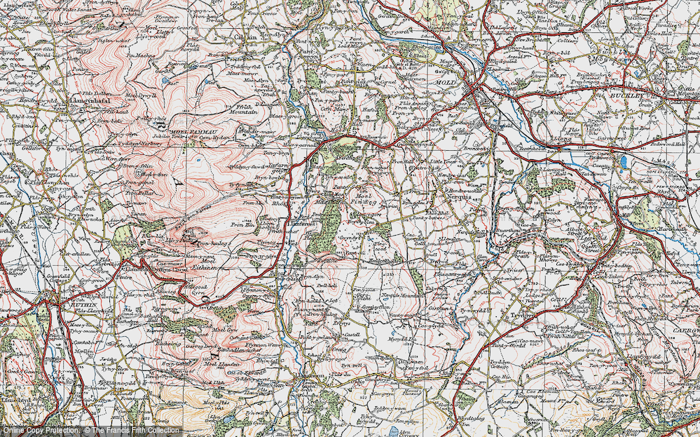 Old Map of Historic Map covering Tir-y-coed in 1924