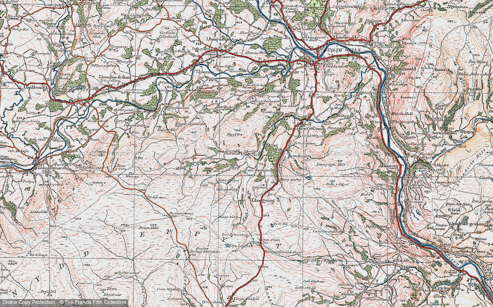 Old Map of Historic Map covering Allt Cynhelyg in 1923