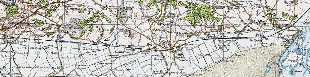 Old map of Magor in 1919