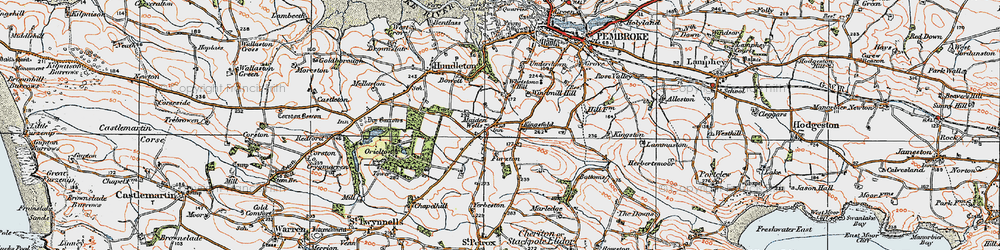 Old map of Yerbeston in 1922