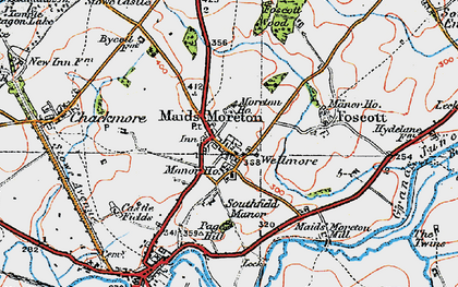 Old map of Maids' Moreton in 1919