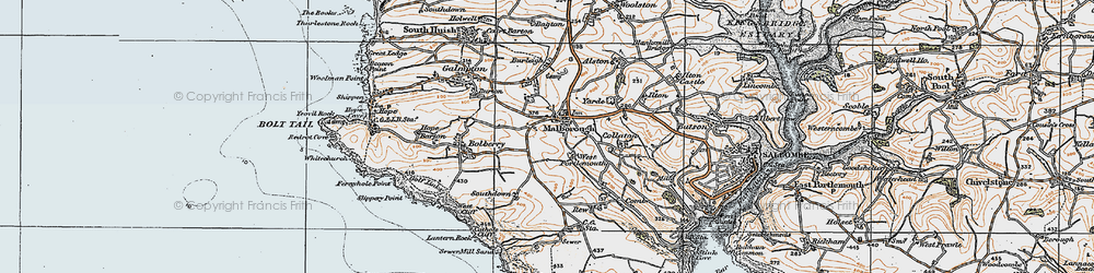 Old map of Malborough in 1919
